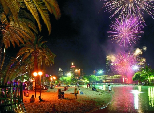 Southbank Beach Fireworks Night